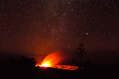 Halema'uma'u crater at night