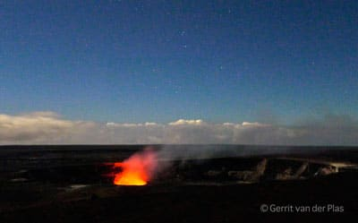 The glow seen from the Jaggar Museum Overlook in Hawaii Volcanoes National Park.