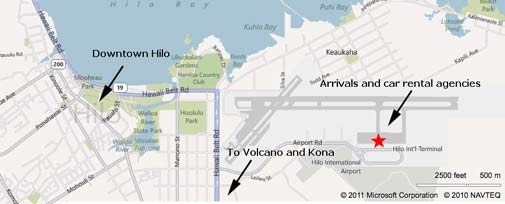 Map of Hilo and Hilo Airport (ITO)