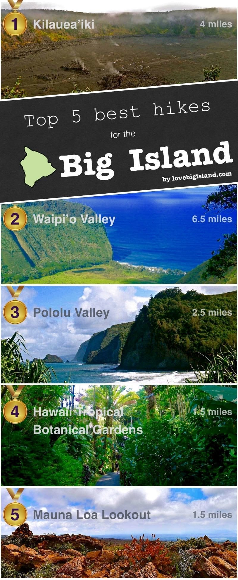 hikes, big island, hawaii, hiking, short hikes, best of