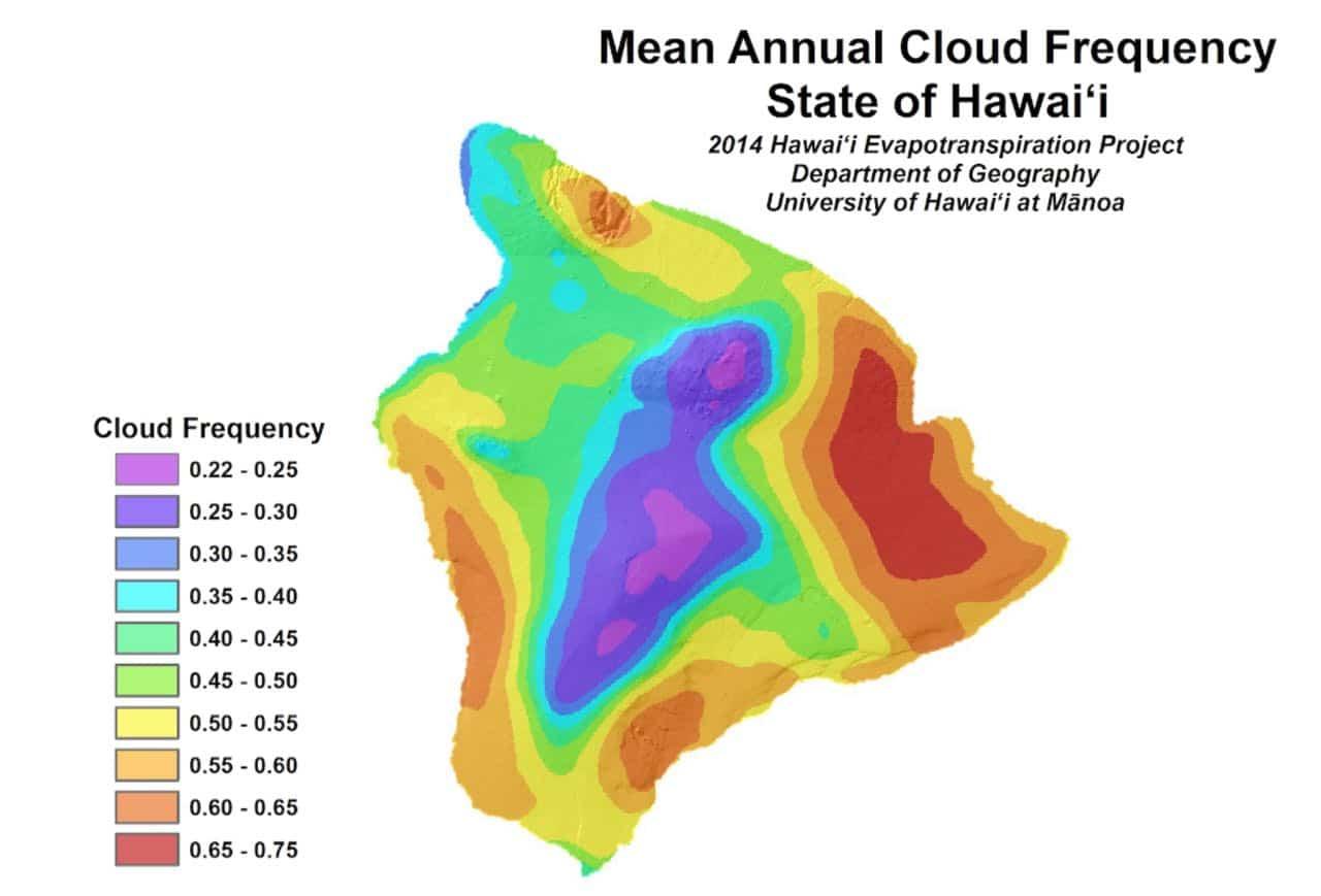 mean cloud coverage, weather, big island, hawaii