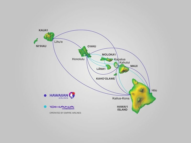 inter island flights, route map, hawaiian airlines, empire airlines, ohana by hawaiian, route map, hawaii