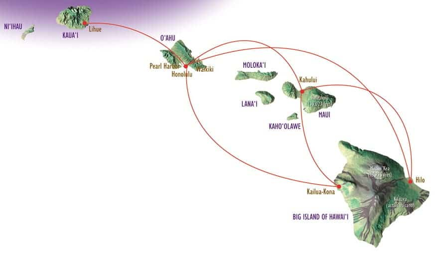 Inter Island Flight Map Routes Hawaii Big Island