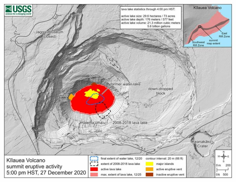 Kīlauea summit eruption reference map showing the location of ongoing lake activity