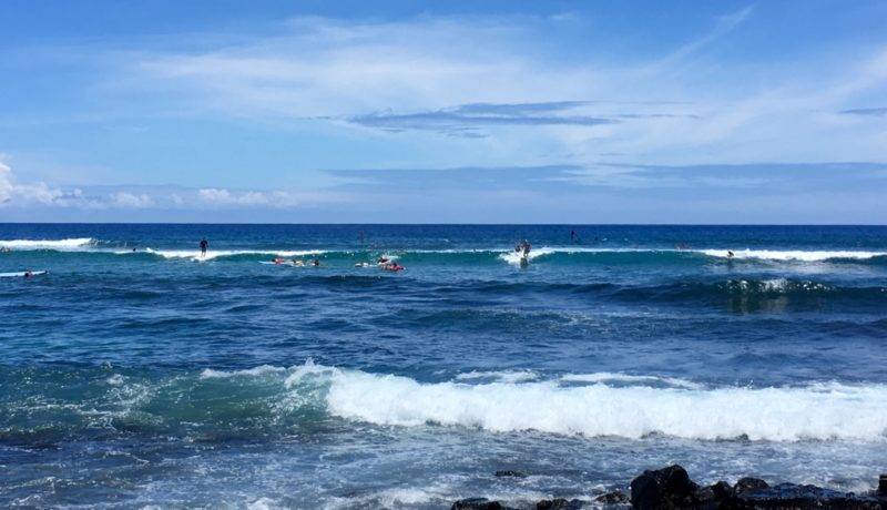 surfers at Kahalu'u beach park