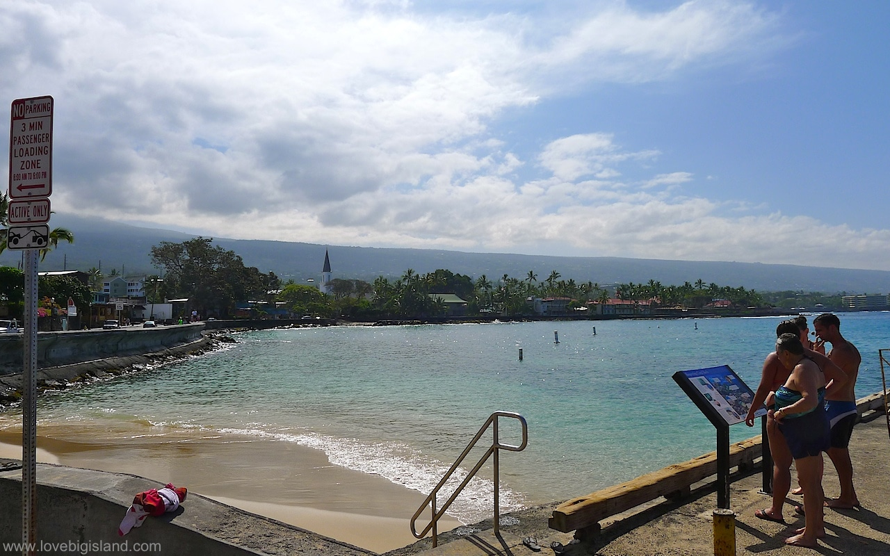 Kaiakeakua beach in Kailua Kona on the Big Island of Hawaii