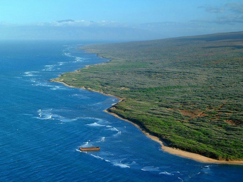 Kaiolohia (a.k.a. Shipwreck Beach) seen from the air