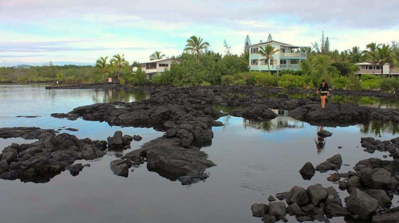 woman walking near the Kapoho tide pools