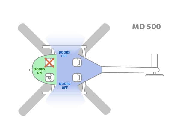 MD 500 helicopter cabin layout for tours out of Hilo