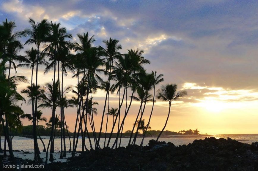 big island, beach, sunset