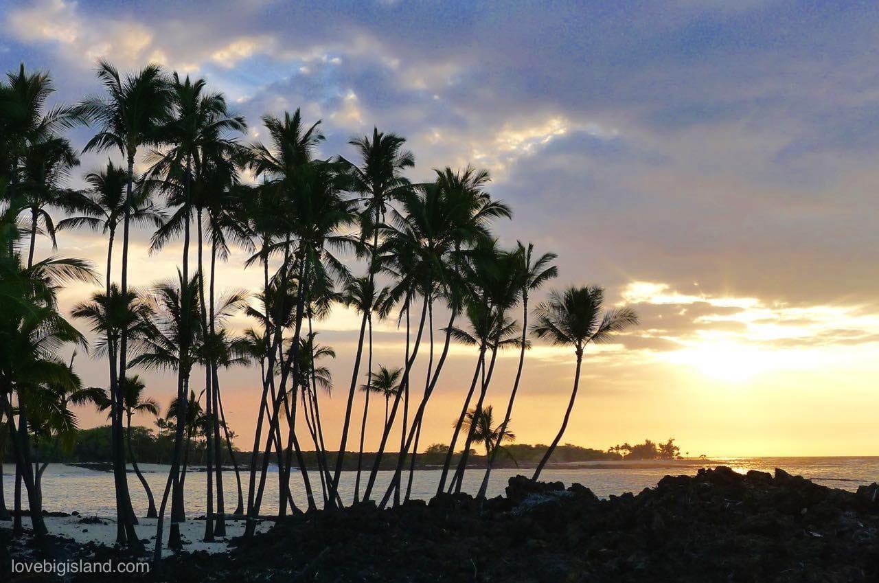 big island, beach, sunset