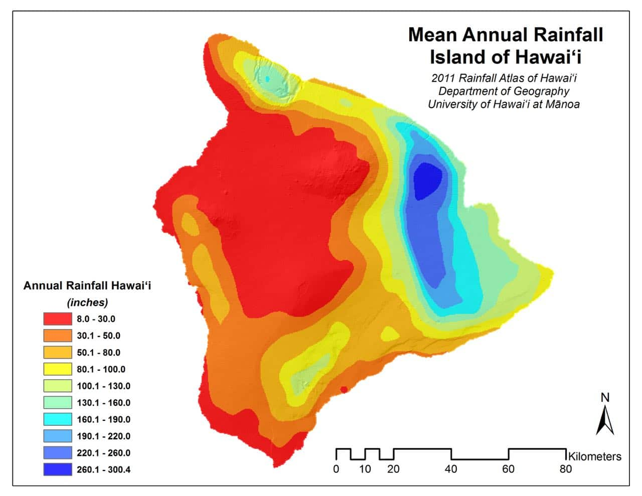 mean rainfall map for hawaii