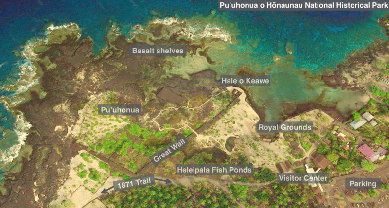 Annotated map of the Pu'uhonua o Hōnaunau National Historical Park