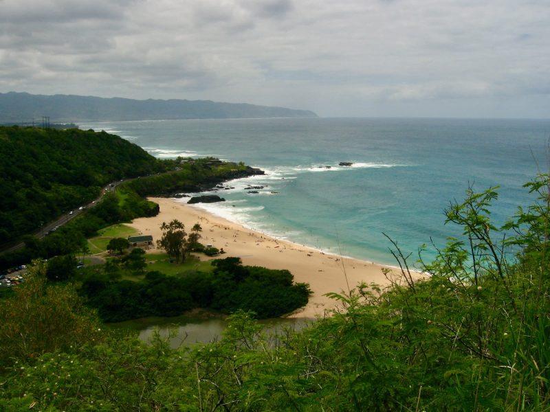 View of Waimea Bay from the Puʻu o Mahuka Heiau State Historic Site.