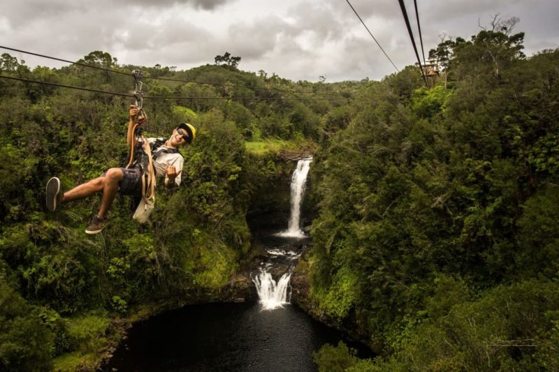 zipline over waterfall