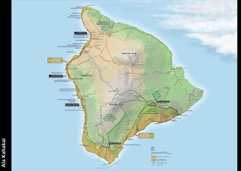 Ala Kahakai, big island, national historic trail, hawaii, map