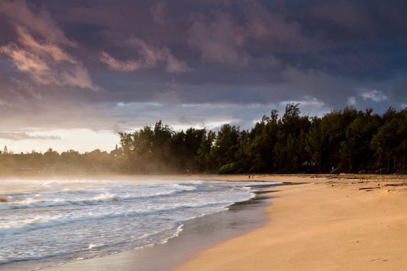 A windy sunrise at Anahola Beach