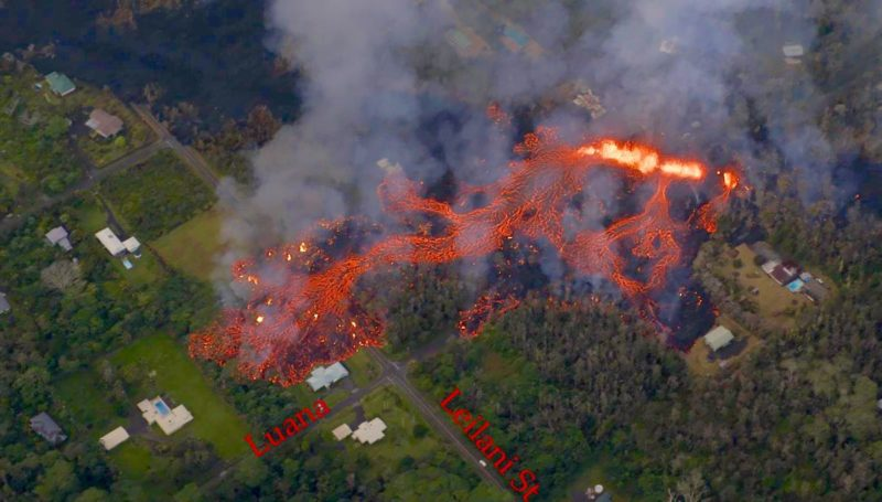 leilani estates, fissure, big island, kilauea, hawaii, volcanic eruption, aerial view, helicopter