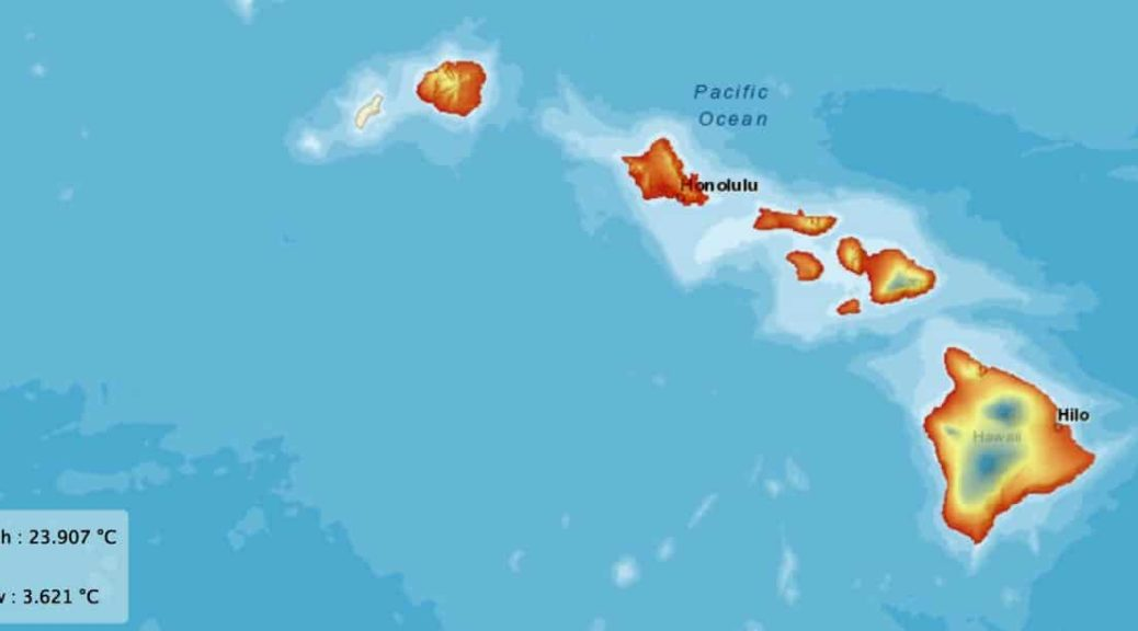 temperature map, hawaii, weather