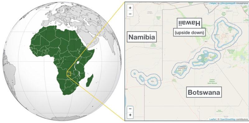 Antipodes of Hawaii: Namibia and Botswana