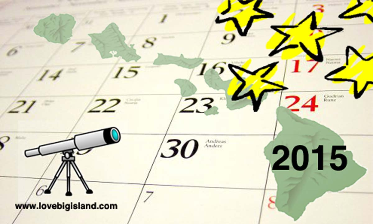 2015 Stargazing Calendar for Hawaii