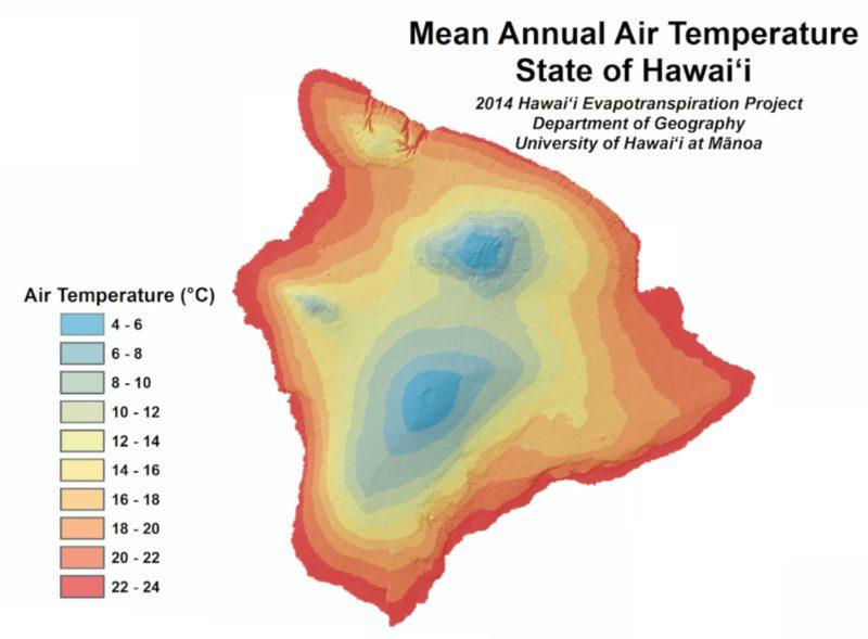 mean temperature hawaii image