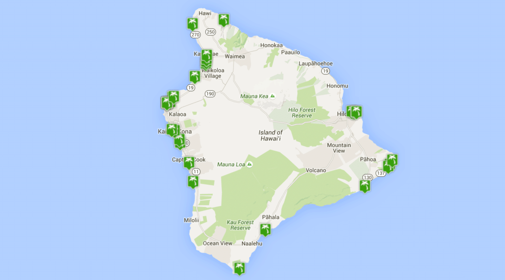 MAp of Beaches on the BigIsland of Hawaii