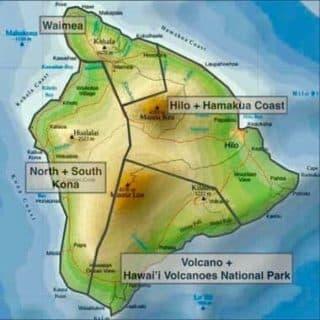 Map of the Big Island, island of hawai'i, districts county of Hawai'i