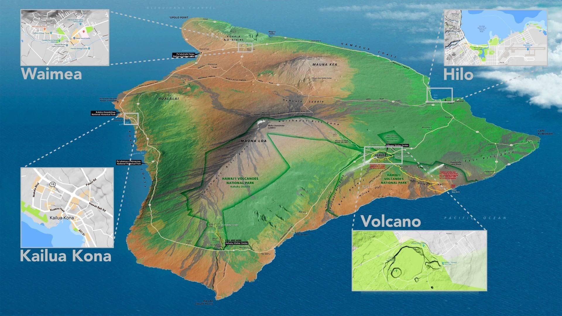 destinations on the big island kona hilo volcano and waimea