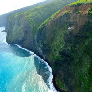 hawaii island kohala cliffs from helicopter