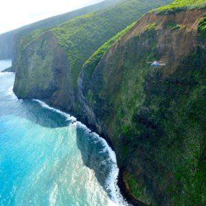 hawaii island kohala cliffs from helicopter