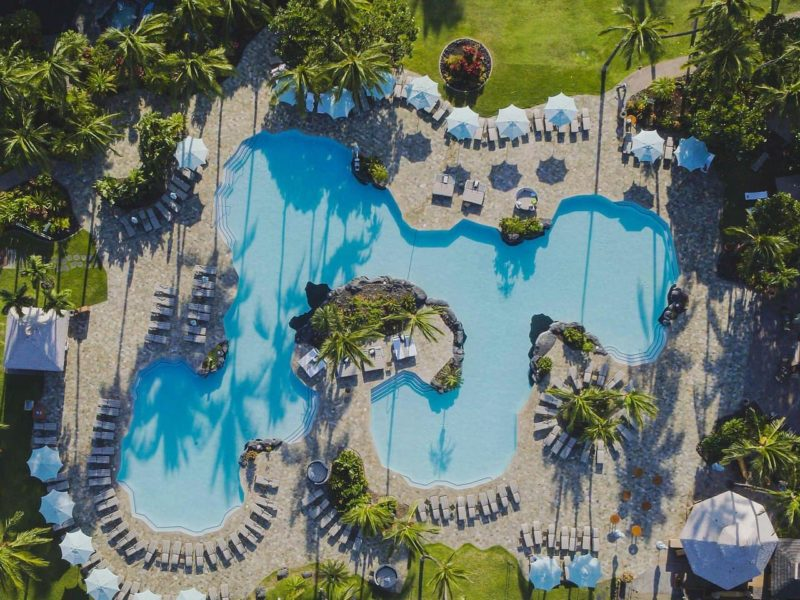 Aerial shot of the pool at the Fairmond Orchid