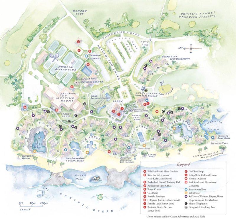 Resort map for the Four Seasons Hualalai