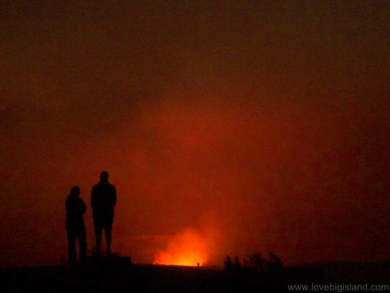 You can visit the Hawaii Volcanoes National Park at night to see the glow over the halema'uma'u crater at the jaggar mnuseum.