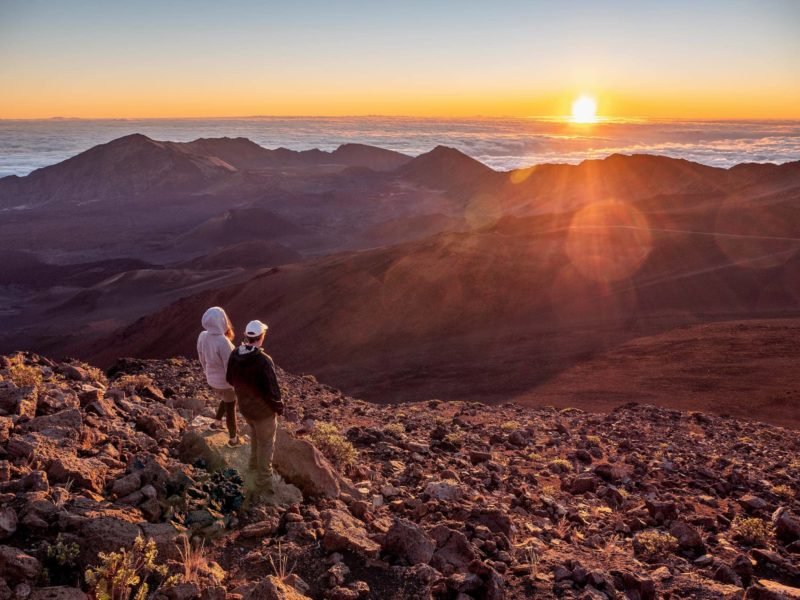 Seeing the sunrise from the Haleakala Summit