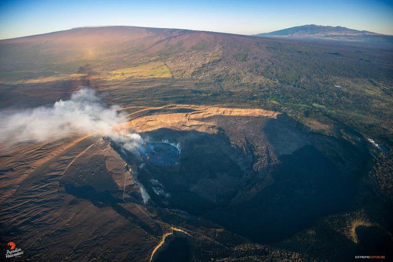 helicopter overview of the halemaʻumaʻu lava lake on the big island of hawaii