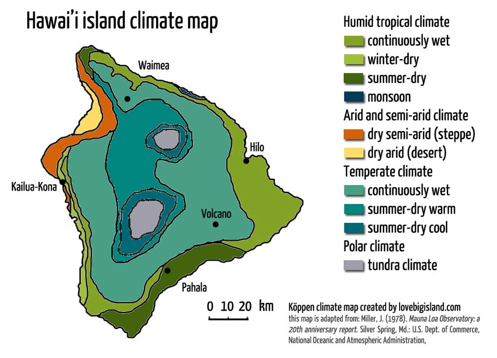 The 8 climate zones on the Big Island