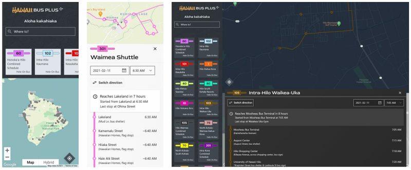 Hawaii Bus Plus app examples