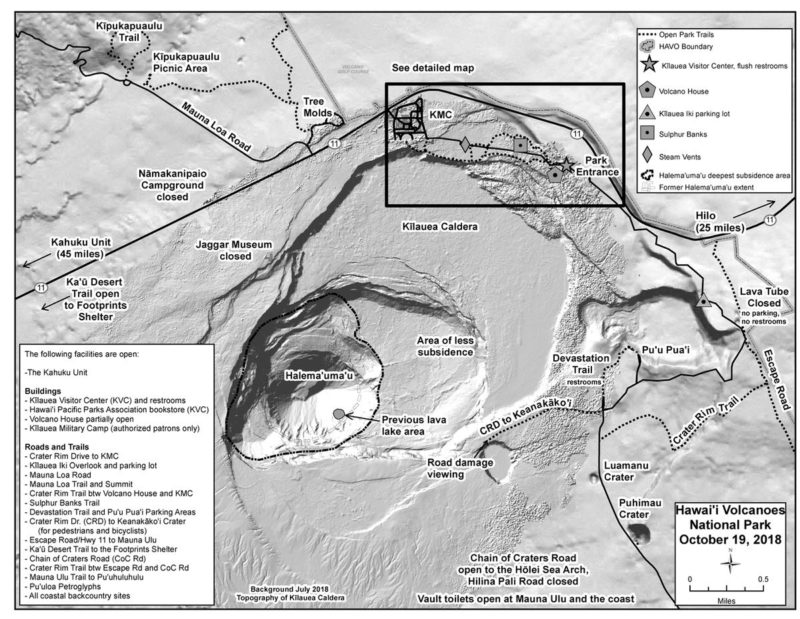 hawaii volcanoes national park, reopening, map