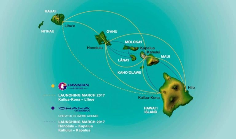 Inter Island Flights Route Map Hawaiian Airlines Empire Airlines Ohana By Hawaiian