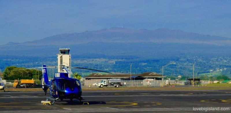 helicopter, hilo airport, big island hawaii, mauna kea telescopes