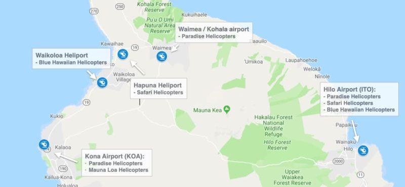 heliports on the big island, hawaii