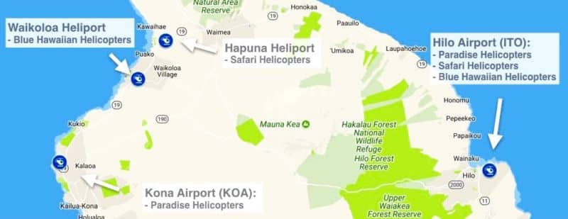 big island, heliports, helicopter tours, hawaii