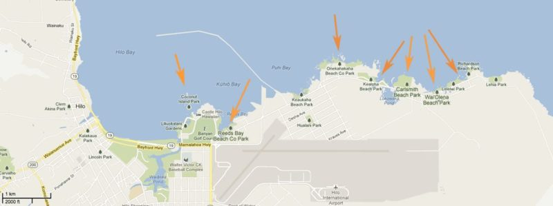 Map of beach parks in Hilo