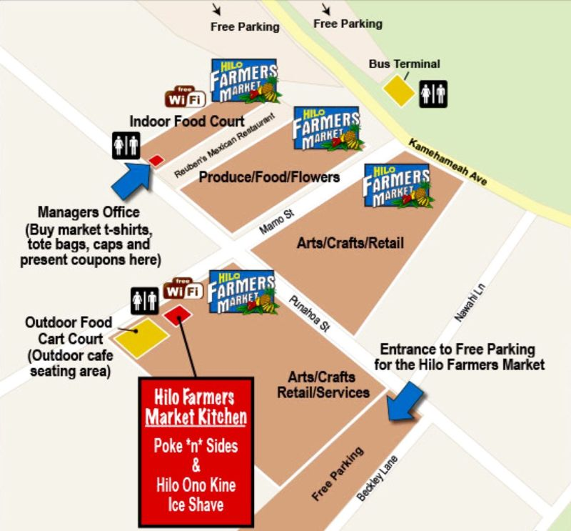 map of Hilo Farmers Market (Big Island, Hawaii)