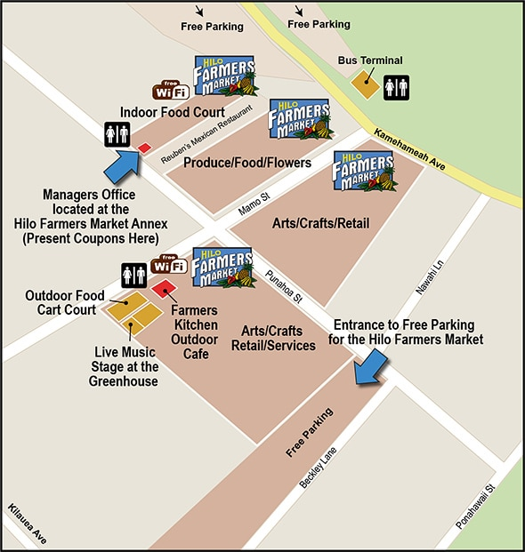 Don't forget about the free parking at the farmers market! Map retrieved from http://hilofarmersmarket.com/map.html at 03/2015.