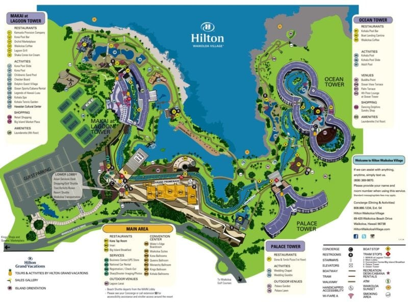 hilton waikoloa, resort map, hawaii, big island, kona