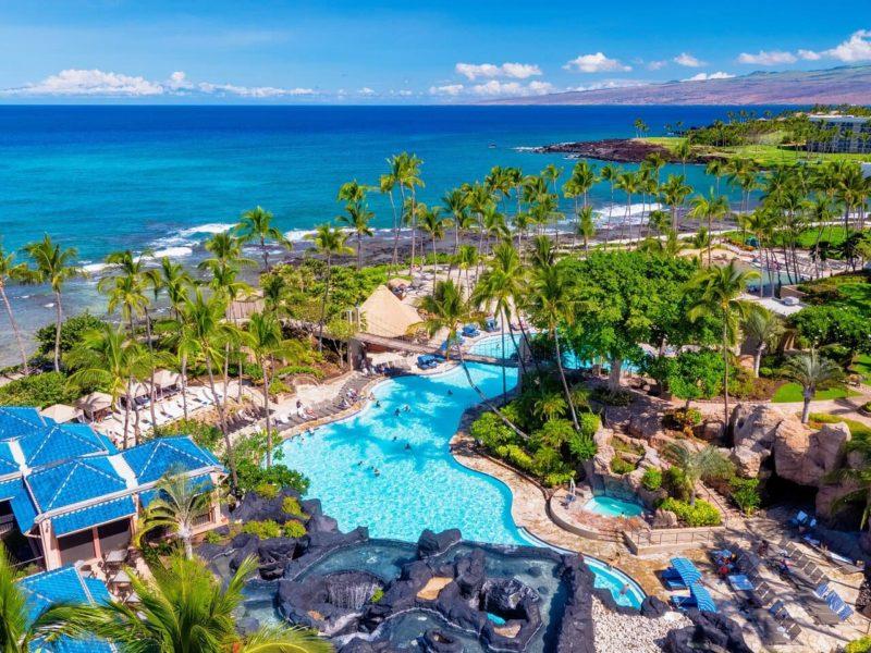 Kona pool on the Hilton Waikoloa Villageresort grounds
