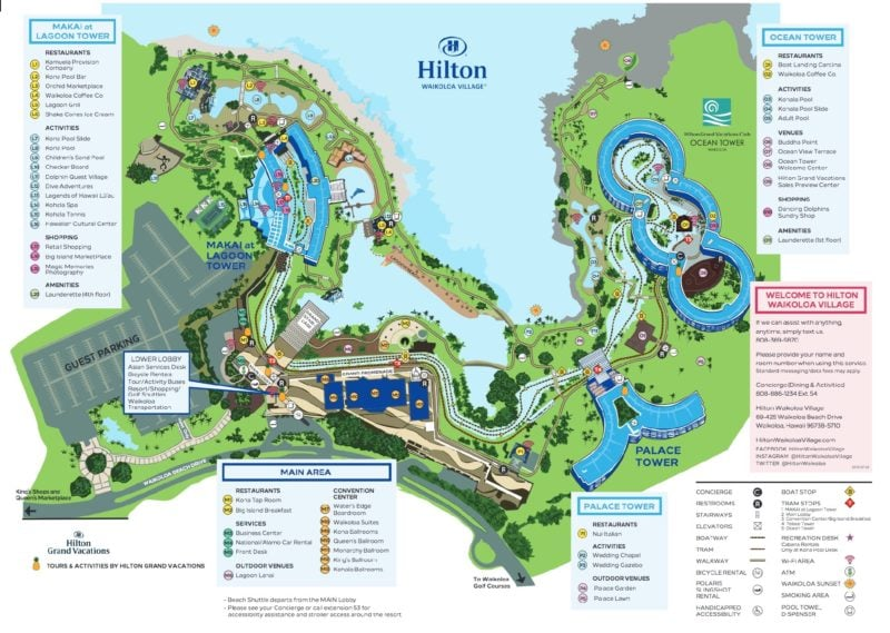 hilton waikoloa, resort map, hawaii, big island, kona