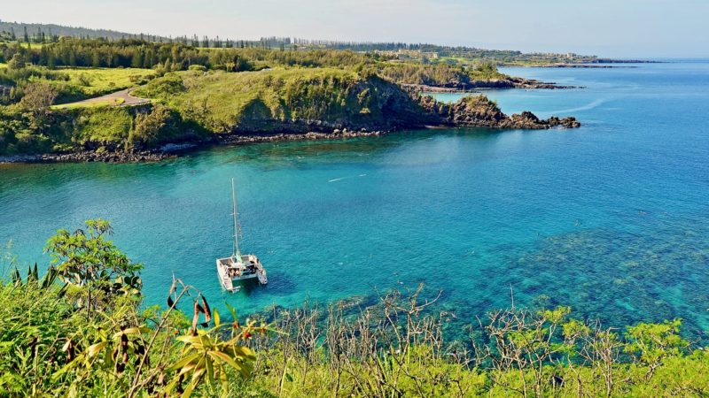 Snorkelers and a catamaran in Honolua Bay